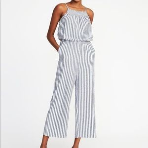 Blue/White Striped Romper